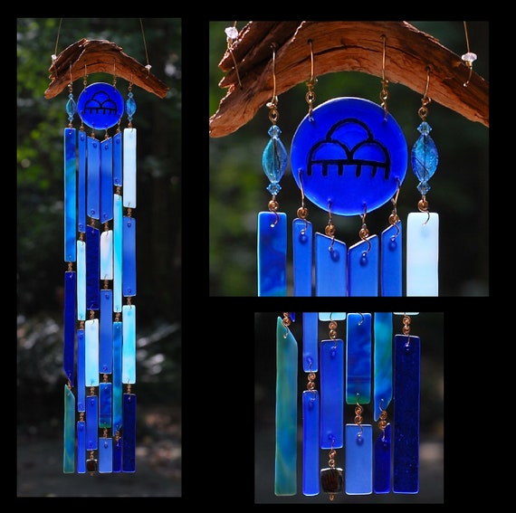 Recycled Beach Glass Inspired Wind Chimes - Rain On Me