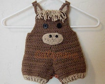 Baby Pony Shortall, Overall Shorties, Buttons at Legs for Easy Change - INSTANT DOWNLOAD Crochet Pattern