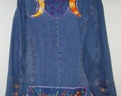 SALE Price / VIntage Denim BLazer / Plus Size / Jean Jacket / Wiccan Art / Triple Moon Goddess / Wiccan Patch / Embroidery / Embroidered
