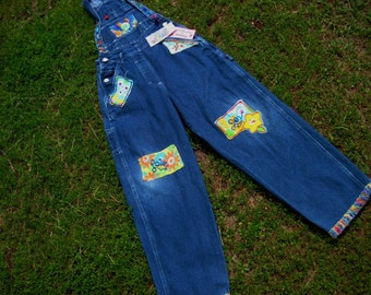 Vintage Childrens Bib Overalls / Disney Brand / Bib Overalls / Hippie Bib Overalls / Patched Jeans / Size Medium / Juniors Overalls