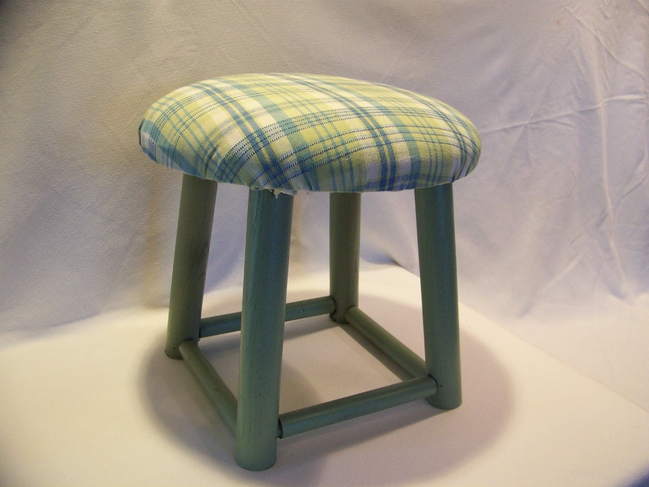 Small Padded Wooden Stool Sage Green