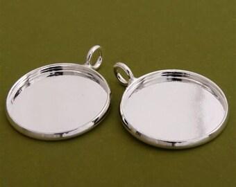 10pcs 18mm BRASS base Trays silver tone blank pendant