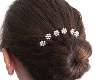 Mini Pearl Florettes with Vintage Beads - Set of 6 Bobby Pins