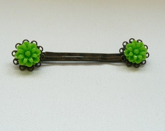 nhp-Antique Bronze Filigree and Lime Green Flower Hair Pins