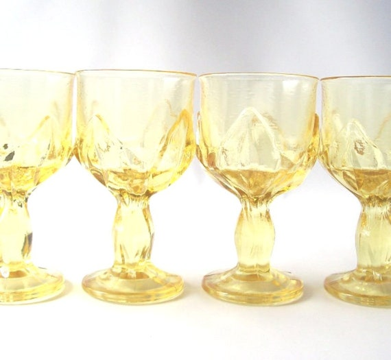 vintage yellow glass wine glasses franciscan crystal glassware goblet footed stemware citrus barware kitchen serving entertaining