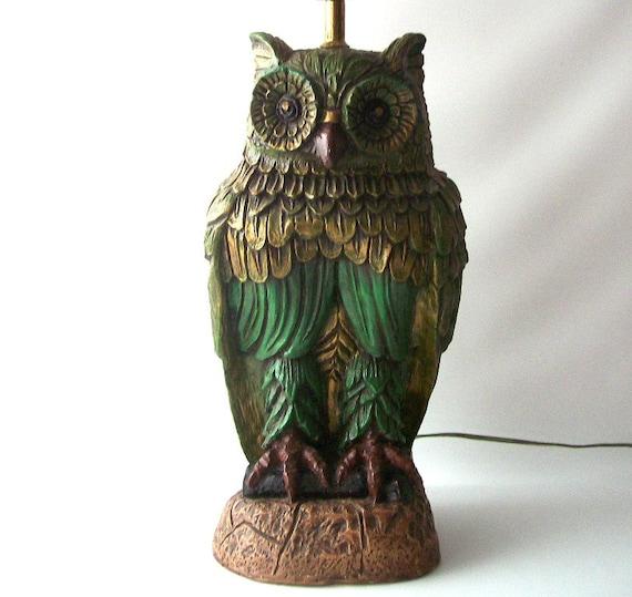 Vintage Owl Lamp Green Gold Retro Home Decor Decorative Lite