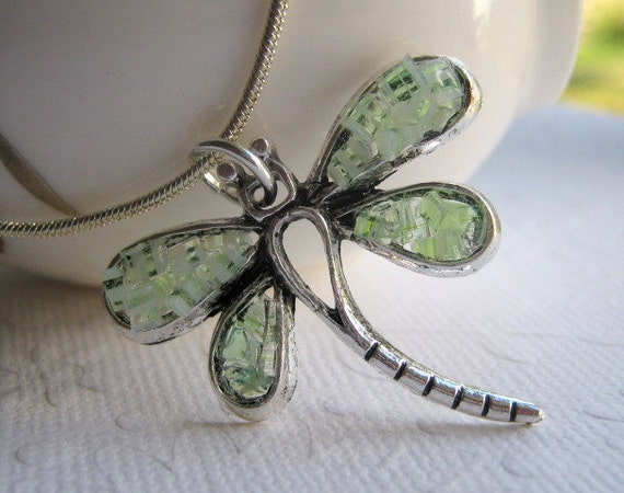 Dragonfly Necklace Mint Green Stained Glass Silver Dragonfly Crushed Glass Dragonfly Jewelry Small Insect Dragonfly Pendant Mosaic