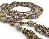 Long Beaded Lariat, Blue Green Muted Glass, Seed Bead Necklace, Bronze Chain Tassles, Handmade Lariat