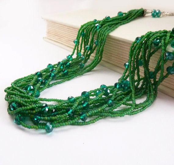 Emerald Green Necklace, Beaded Strand Necklace, Seed Beads, Layered Multistrand Statement Piece, Czech Glass Beads Sterling Silver