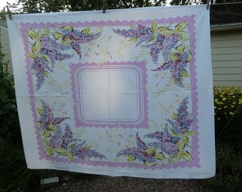 1955 Vintage LILAC PRINT off Square Cotton Tablecloth