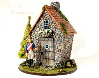 Fairytale Dreamkeeper's Guard House - Handmade 1/24th Scale Stone Cottage with Prussian Era Guard, PineTree and Flowering Bushes