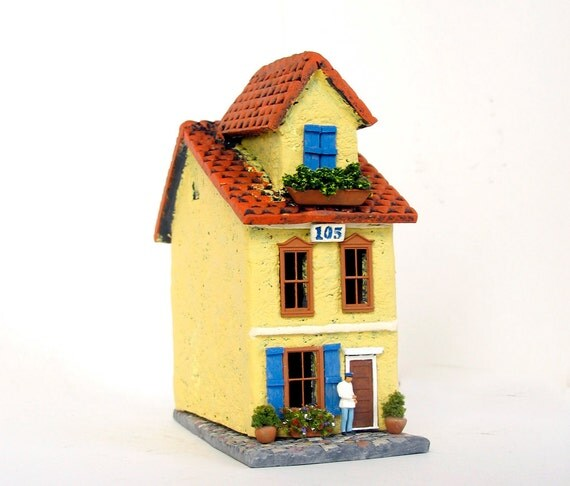 Saffron Yellow Burano House - Summer in Venice Italy - Handmade Miniature Clay Building, Canal Walkway and Bench - HO Scale
