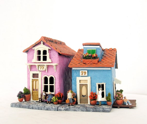 RESERVED for Kuang Haow Loy - Italian Burano Houses - Cotton Candy Pink & Sky Blue Houses and Canal Walkways - Gondola - Miniature Windmill