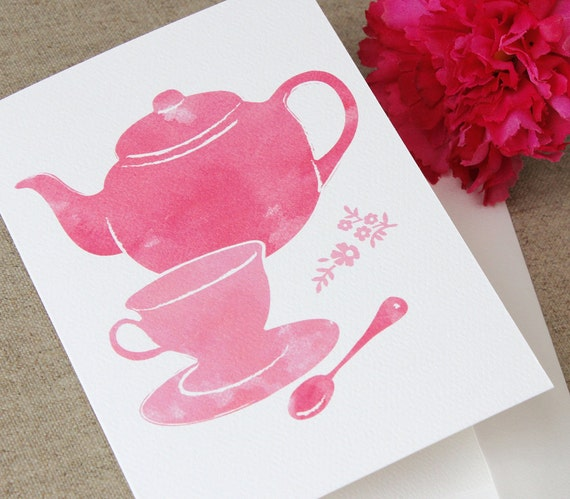 Kitchen Tea Quotes For Cards: Items Similar To Pink Vintage Tea Set Greeting Card