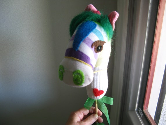 Stripes, Circus Sock Puppet Horse, a Dear Soft Heart (tm), with Gift Wrap