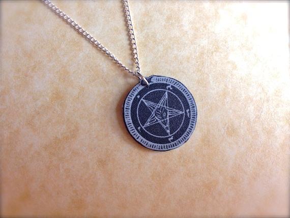 baphomet goat pentagram necklace black dark star pendant small tiny charm
