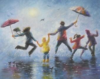 Singing in the Rain Art Print, happy family playing in rain paintings umbrellas mom dad three children three kids wall decor blue