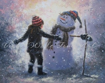 Snowman and Girl Art Print winter paintings, snow, kids playing, children snowman art, Vickie Wade art, canvas