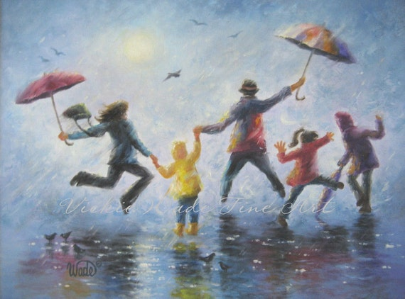 singing in the rain art print happy family playing in rain. Black Bedroom Furniture Sets. Home Design Ideas