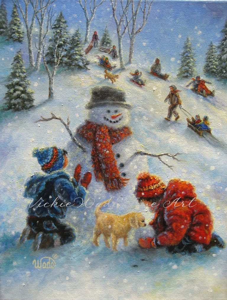 Children Playing In Snow Art Print Snowman Paintings Boy
