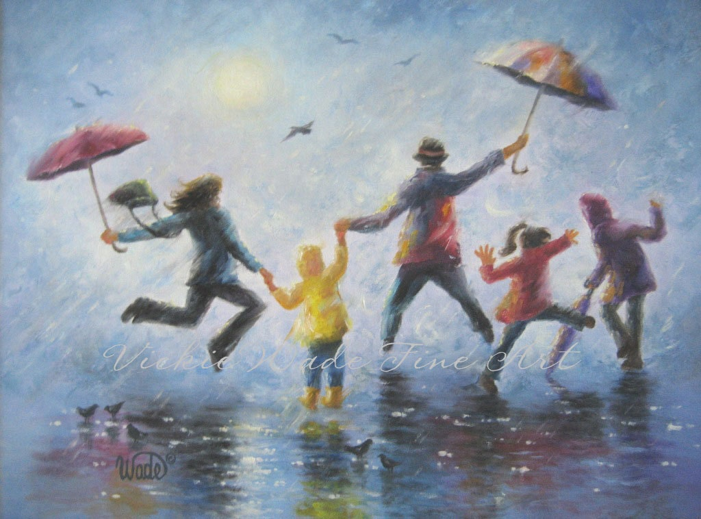 Singing in the rain art print happy family playing in rain for 3 by 3 prints