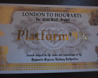 Wizarding School Gold-Foiled Train Ticket for the witch or wizard