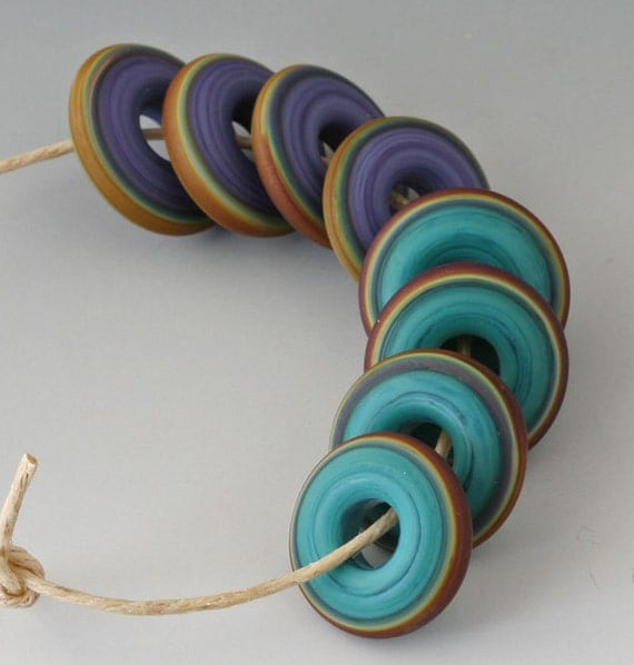 Chunky Rings - (8) Handmade Lampwork Beads - Teal, Brown, Lapis - Etched, Matte