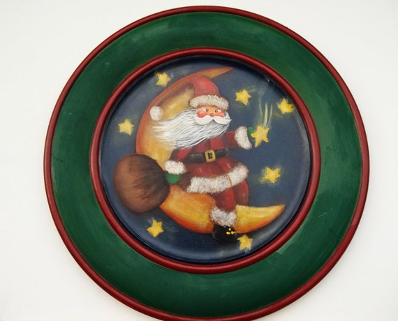 Handpainted Wooden Plate Santa Riding on the Moon