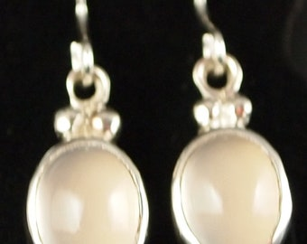 Sterling Silver and Blue Chalcedony Drop Earrings