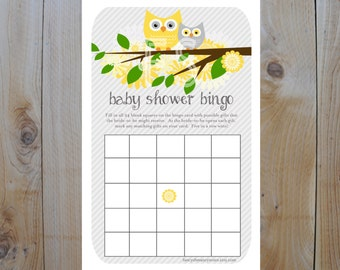 Owl Baby Shower Bingo / Yellow and Grey Owls with flowers / Instant Download / PRINTABLE / 61157