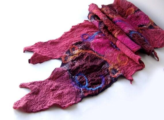 Nuno felted scarf Red purple magenta Burgundy  gift under 100