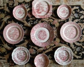9 Mix n Match Red Transferware Plates Instant Wall Display or Collection Chinoiserie Themed