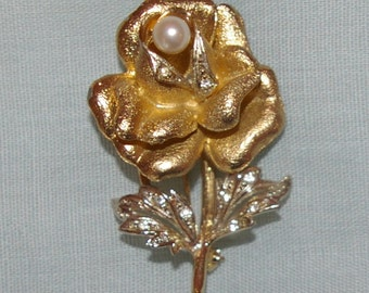 Gold Tone Rose Brooch with Pearl, Rhinestones, Vintage 1960's 1970's