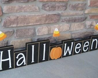 LARGE HALLOWEEN BLOCKS for shelf, gift, mantle, desk, October and home decor