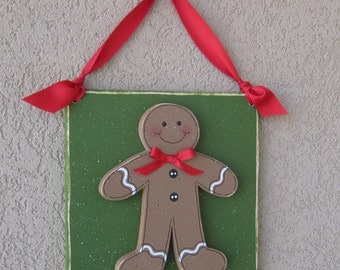 Hanging CHRISTMAS GINGERBREAD MAN with ribbon for Christmas, wall, door hanger, and  home decor