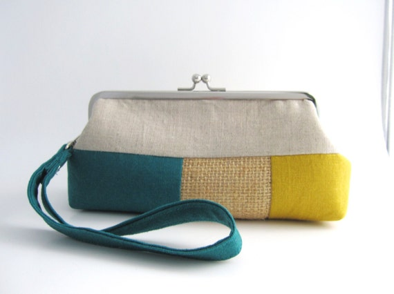 Wristlet frame clutch purse- stripe patchwork- teal yellow