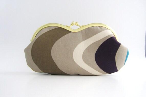 Frame sunglasses case/ Clutch Purse -frame purse- lines on gray