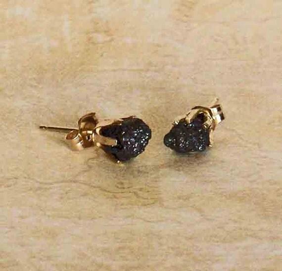 Black Diamond Gold Stud Earrings. Rough Uncut Black Diamonds, 14K Gold Post Prong Setting, Ready to Ship