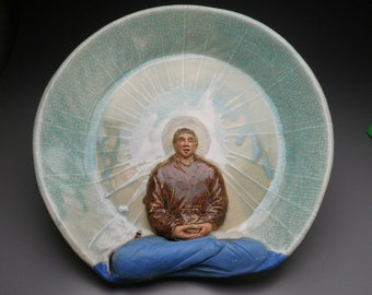 Ceramic Bas Relief Sculpture Buddha Art Wall Platter, Male Figure in Meditation, Yoga Figurine