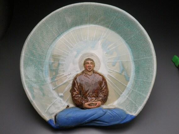 Ceramic Bas Relief Sculpture Buddha Art Wall Platter, Male Figure in Meditation, Yoga Figurine