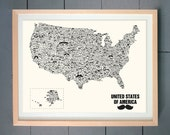 Mustache / Moustache USA Map (made with various Mustache)  ART PRINT (various sizes available -  11x14 - 20x30 inches)