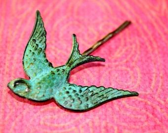 Soaring Bird Hair Pin, Patina Hair Pin, Patina Hair Accessory, Bird Bobby Pin, Bobby Pin, Gift, Gift under 10