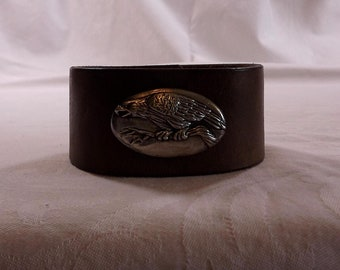 eagle leather cuff, eagle concho, tobacco brown leather belt cuff, snap bracelet, Abercrombe and Fitch,