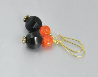 Black and Orange Earrings Upcycled Vintage Bead Dangles