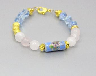 Vintage Bead Bracelet Rose Quartz and Blue Porcelain Chinese Beads