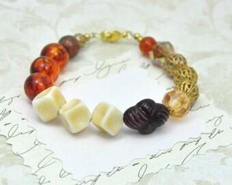 Vintage Bead Bracelet Amber Cream and Gold Filigree
