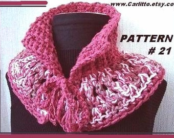 Crochet PATTERN scarf-  crochet scarf #21, Crochet for beginners,  Cowl capelet scarf,  2 STYLES in one pattern, instant download