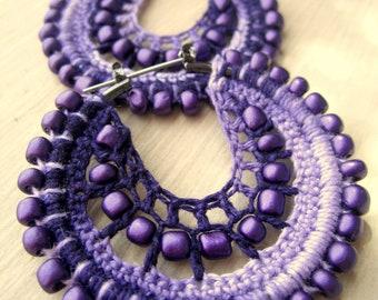 Crocheted hoops in purple