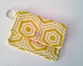 Retro Print Keychain Wallet in Green and Orange