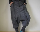 Unisex Ninja Harem Funky Stretch Cotton Mix Polyester Dark Heather Grey Pants With 2 Pockets